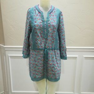 Esley teal floral tunic